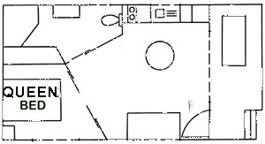 Floorplan of spa cabin 89 at Edgewater Holiday Park