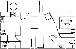 Floorplan of spa cabin 99 at Edgewater Holiday Park